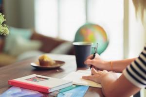 woman studying language