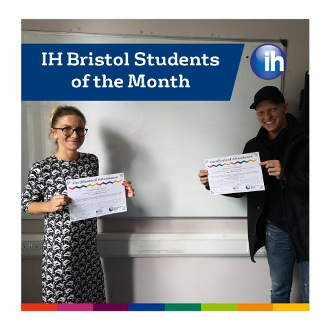 Students Roxana and Juan with their certificates